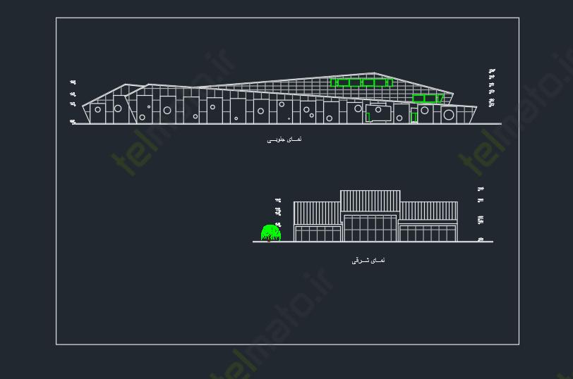 دانلود پلان آماده و نقشه طراحی شده کتابخانه عمومی در نرم افزار اتوکد autocad + فایل