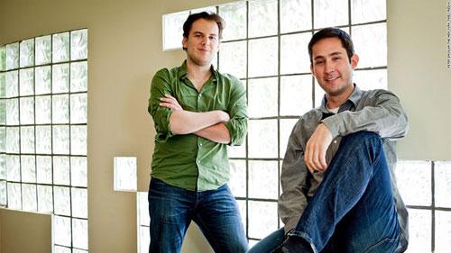 همبنیانگذاران اینستاگرام، مایک کریگر (چپ) و کوین سیستروم در دفتر خود در سانفرانسیسکو، سال ۲۰۱۱