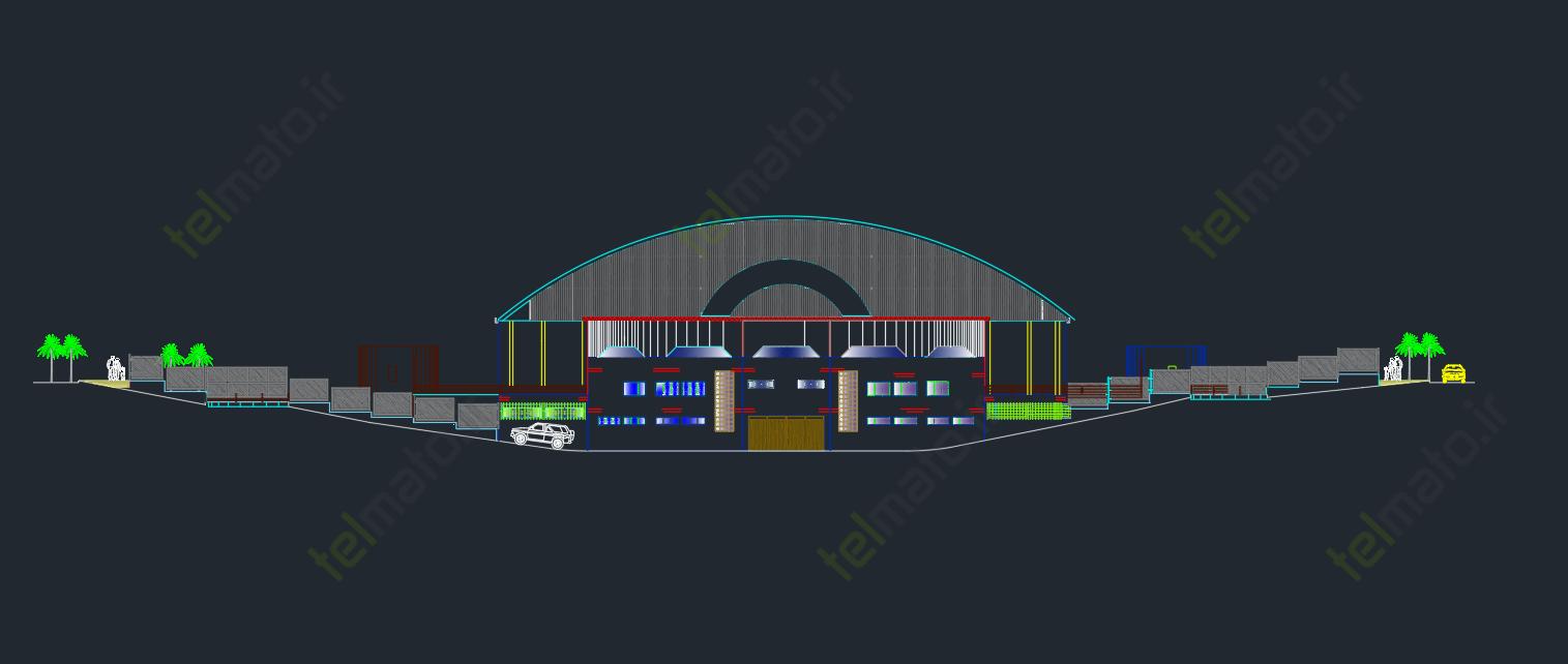 دانلود پلان آماده و نقشه طراحی شده استادیوم در نرم افزار اتوکد autocad + فایل