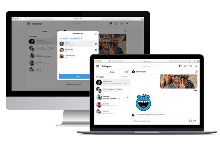 ارسال دایرکت در نسخه وب اینستاگرام