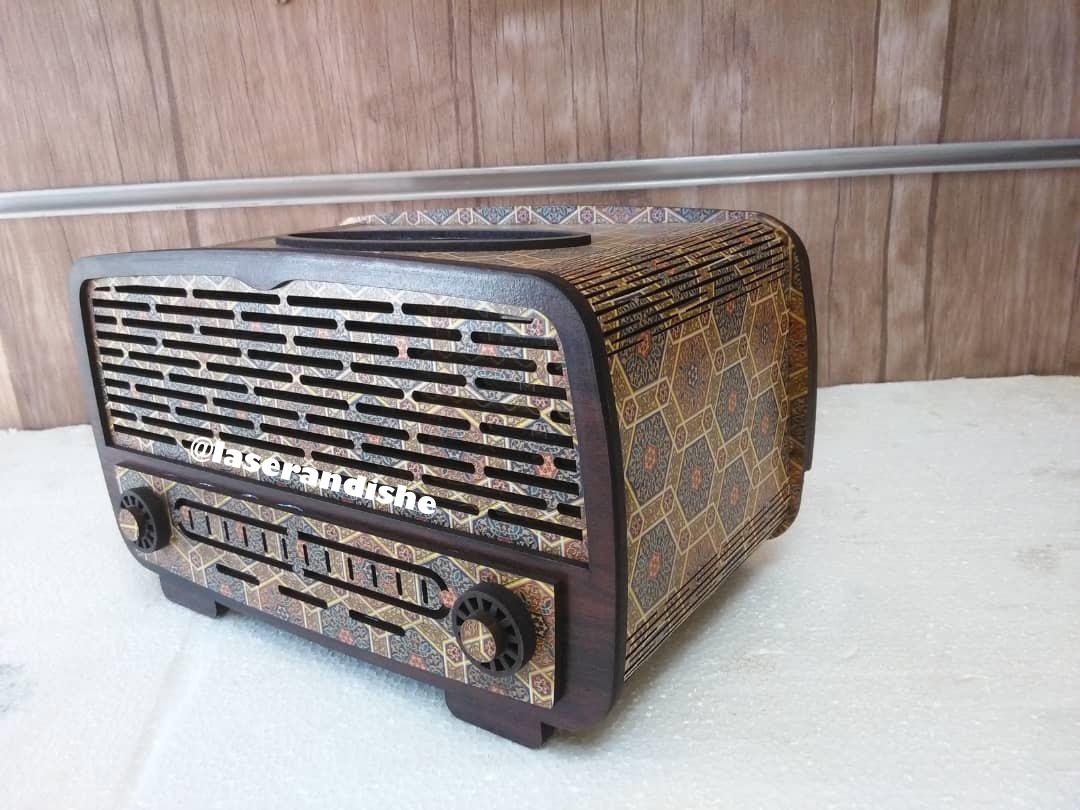طرح ليزر جعبه دستمال راديو قديمي 1399