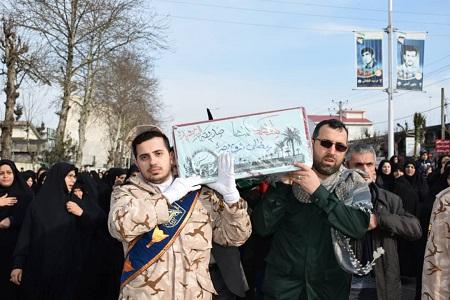 پیکر مطهر شهید گمنام دفاع مقدس در بندر آستارا تشیع شد