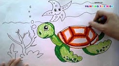 Painting animals for kids - How to draw a sea turtle step by step easy - Art for kids