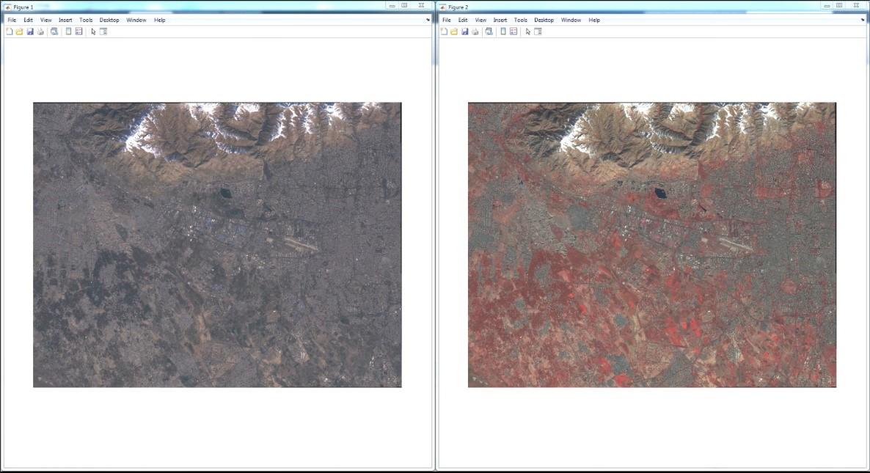 نمایش تصویر به صورت RGB و False Color سنتینل 2