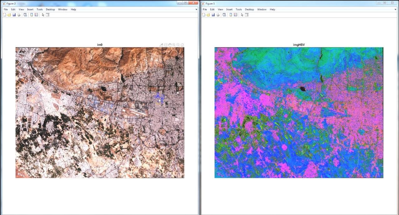 نمایش تصویر RGB و HSV سنتینل 2