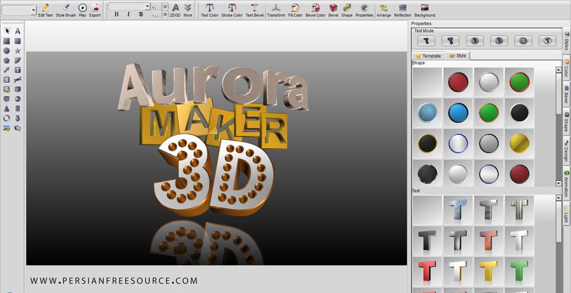 دانلود نرم افزار طراحی سه بعدی لوگو و نوشته | Aurora 3D Text & Logo Maker