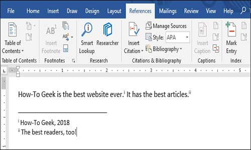 Endnotes in Microsoft Word